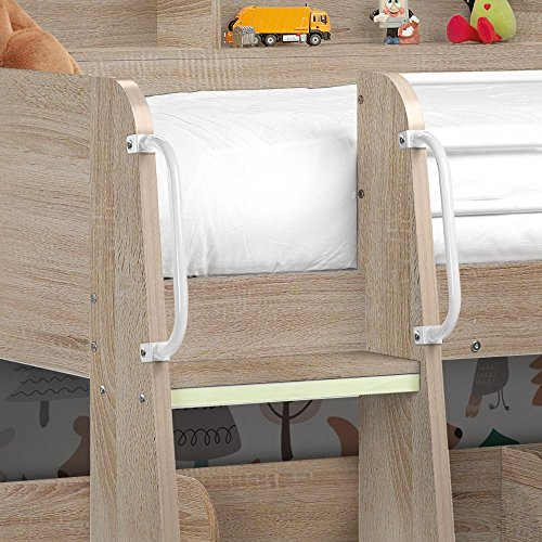 Happy Beds Domino Oak Wooden and Metal Kids Storage Bunk Bed Modern Sleep Station Frame Only 3' Single 90 x 190 cm