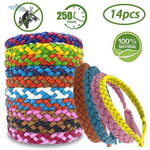 Zocone braccialetti antizanzare, 34 pezzi braccialetto antizanzare bracciali antizanzare bambini 100% senza tossine adatto per attività, all'aperto bambini e adulti (14 pezzi)