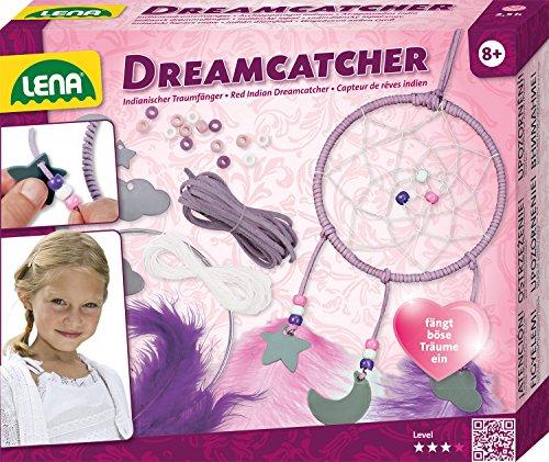 Lena 42699 - Bastelset Dreamcatcher, Komplettset zum Traumfänger basteln mit Metallring, farbiger Papier - Kordel, Leim, Faden, Federn und Anhänger Wolke, Mond und Stern, Set für Kinder ab 6 Jahre (Dreamcatcher)