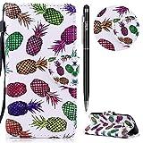 HTC One M8 Hülle,HTC One M8 Leder Handyhülle,WIWJ Wallet Case[Messerschnalle Lanyard Gemalt Ledertasche] Flip Schutzhüllen für HTC One M8-Farbige Ananas
