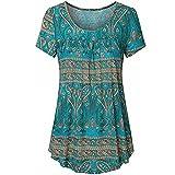 ZEELIY- Blusen Damen Sommer 2019 Hemden Floral Kurzarm Tunika-Oberteile mit ausgestelltem Saum Plus Size Bluse