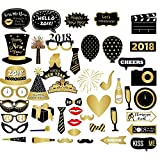 46pcs New Year's Eve 2018 Photo Booth Props Funny Selfie Photgraphy Kit Party Decoration - Ready on Stick by Trimming Shop