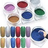 Pure Vie® 6 box 1g Nagel Pigment Mirror Powder Nail Glitzer Spiegel Effekt Pulver Glitter Set