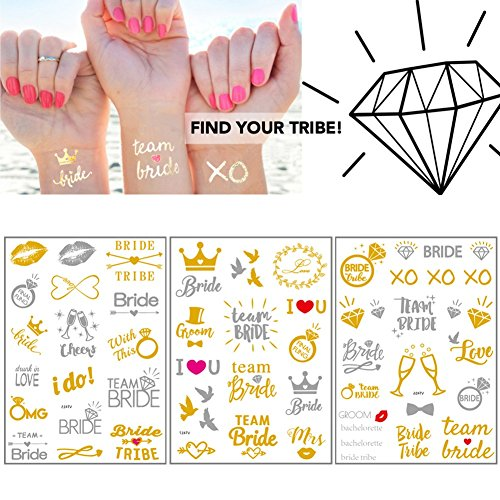 JGA Tattoo, Team Bride Tattoos Wasserdicht Junggesellinnenabschied Tattoos für Bachelor Party, Hochzeit, Braut Dekorationen Supplies