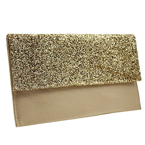 YYW Leather Clutch Bag, Poschette giorno donna Gold