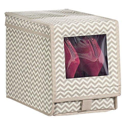 MetroDecor mDesign Schuhaufbewahrung aus Stoff (medium) – stapelbare Schuhbox mit Sichtfenster, Klettverschluss und Klappdeckel – Aufbewahrungsbox mit Zickzack-Muster für Schrank oder Regal – Taupe