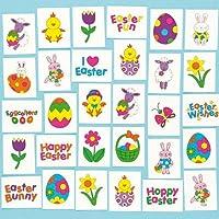 Dei bambini Tatuaggi Temporanei per Pasqua Party (Confezione da 24) - 'Hoppy' Pasqua - Colori vivaci colorato tatuaggi in 'uovo-cellente' Pasqua disegni - Semplicemente applicato con acqua - 24 disegni assortiti - 3 Anni