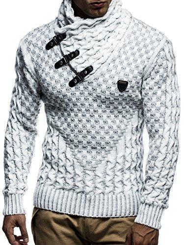 LEIF NELSON Herren Pullover Strickpullover Hoodie Sweatshirt Pulli Langarm Schalkragen LN5255