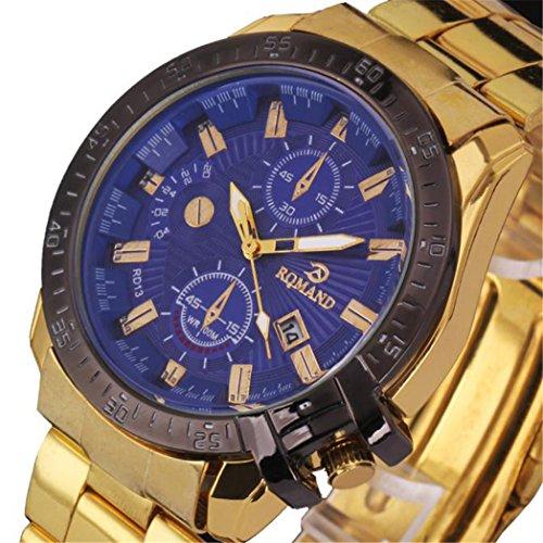 Vovotrade Heiß!!!Luxus Herren Schwarz Dial Gold Edelstahl Quarz Analog Sport Armbanduhr(Golden)