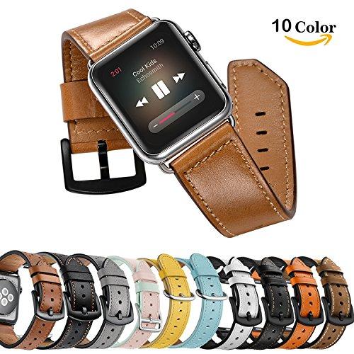 Chok Idea Lederarmband für Apple Watch, 42mm Echtleder iwatch Strap Ersatzarmband mit Metallschnalle für Apple Watch Serie 3 Serie 2 Serie 1 Sport und Edition (Classic Brown)