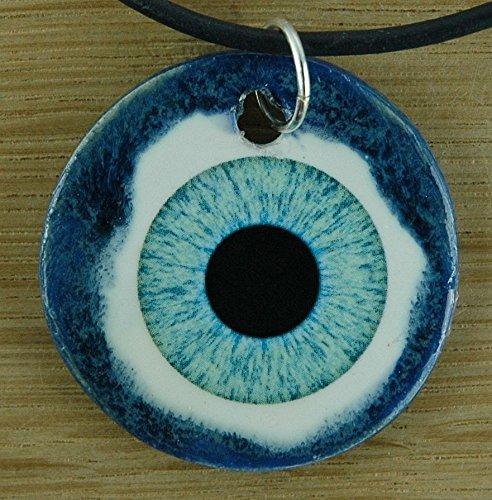 Echtes Kunsthandwerk: Toller Keramik Anhänger mit einem Auge; Iris, blaue Augen - Augen-iris