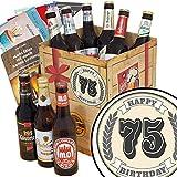 75. Geburtstagsgeschenk | Geschenk Box Bier | Bier Paket | INKL 3 Urkunden, 6 Geschenkkarten + Umschläge, Bier Bewertungsbogen