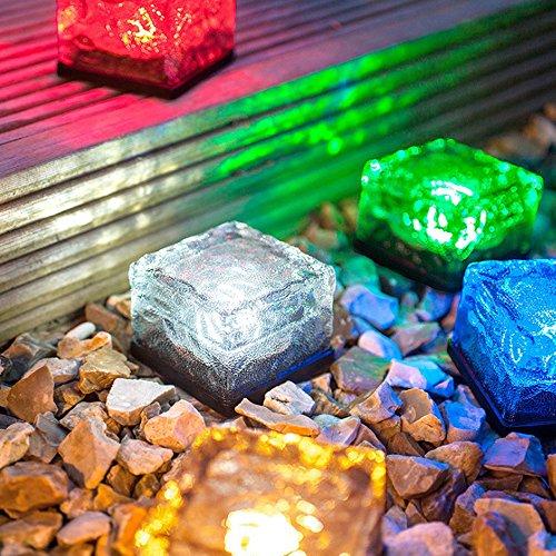 CoolFoxx Solarbetriebene LED Glas Ziegelstein Rasen Nachtlicht, IP67 imprägniern Sieben bunte ändernde Weihnachtsfest-dekorative Eis-Felsen-Würfel-Lichter für Yard-Garten-Pfad-Patio Ersatz-dichtungen Für Die Gläser