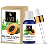 Good Vibes Oil Control Serum - Tea Tree and Papaya - 10 ml - Light Weight Hydrating Formula for Uneven Skin Tone and Clogged Pores - Cruelty Free
