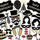 Veewon Geburtstagsfeier Fotorequisiten Foto Booth Props 35pcs DIY Kit Geburtstagstorte, Happy Birthday Zeichen, Schnurrbart, Gläser, Krawatten, Lippen für Geburtstagsfeier Test