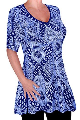 Damen Drucken V-Ausschnitt Bluse Tunika Frauen Übergröße Frauen Ausgestelltes Langes Top (Eye Drucken)