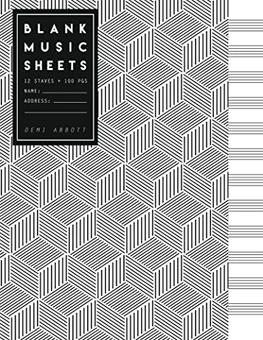 Blank Music Sheets: Black & White Geometric Design - Song Writing Journals for Music Lovers (Large Journal 8.5