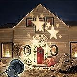Lightess 4W LED Lichteffekt Beleuchtung Weihnachten Landschaft Scheinwerfer Fee Bewegung Garten Mauer Hochzeit Draussen Wasserdicht projektiert Spotbeleuchtung LED-Leuchten, Projektionsleuchte, Star-Muster-Rasen-Licht, Feiertage, Feste, Weihnachtstag beleuchtung, Dekorative Leuchten, warmes Weiß(UK Plug)