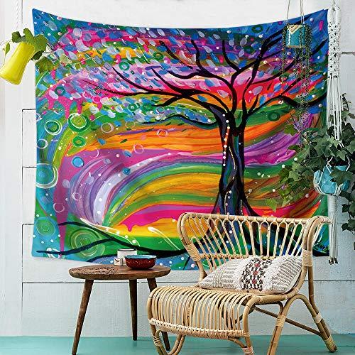 zfkdsd Böhmen Mandala Wandteppich Natur ethnischen Baum des Lebens Aquarell Boho Dekor Hippie Schlafzimmer Wandbild Wandbehang Teppich Reise werfen