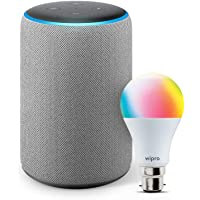Amazon Echo (3rd Gen, Grey) bundle with Wipro 9W Smart LED bulb