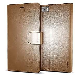 MTT® Premium Leather Flip Wallet Case with Card Slot for Xiaomi Mi 5 (Brown)