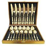 Magicpro moderno oro Royal servizio posate in acciaio INOX per matrimonio, festa di Natale, servizio per 6
