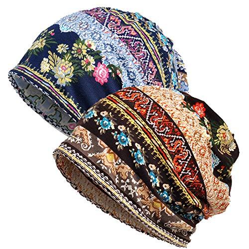 WELROG Chemo Hut Frau Hut Spitzen Kopftuch Super Weich Slouchy Turban Kopfbedeckungen Kopf Wraps(Mehrfarbig)