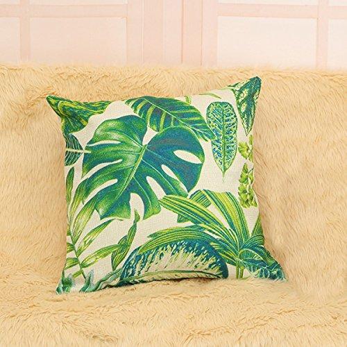 YFFS 4 Stück Pflanze Blätter Tropische Leinen Kissenbezug Gepolstertes Kissen,B