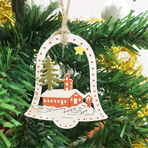 TAOtTAO  10 Stücke DIY Cartoon Handwerk Weihnachten Weihnachten Holz Chip Hängende Ornamente Decor (B) Garland Chip