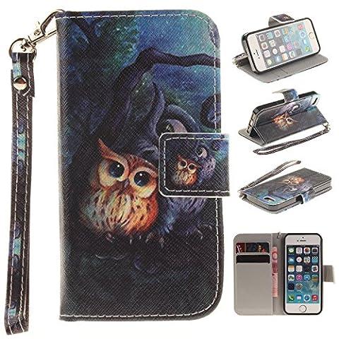 BONROY® PU Leder Wallet Case Schutzhülle für iPhone SE 5