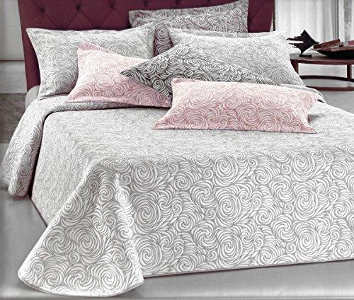Tagesdecke Doppelbett Rose Leicht Gesteppt Quilt Spring Double Face grau weiß Steppdecke 265x 265cm -