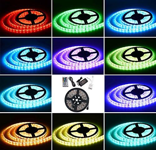SENDIS 5M Striscia LED Impermeabile Flessibile 300 Led SMD 5050 RGB + 44 Tasti del Telecomando +12V 5A Alimentazione Elettrica