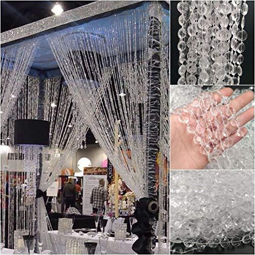 Cortina de Cristal con Cadena de Diamantes,Beatie Cortinas para Exteri