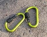 Liroyal Green D Carabiner Camp Spring Snap Clip Hook Keychain Keyring Climbing Hiking