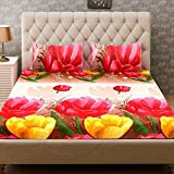 ZAIN 3D Double Bed Sheet With 2 Pillow Covers, Floral