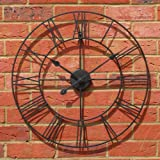 Stunning Metal Roman Numeral Clock - Black 'Iron' (60cm in diameter) by Carousel Home