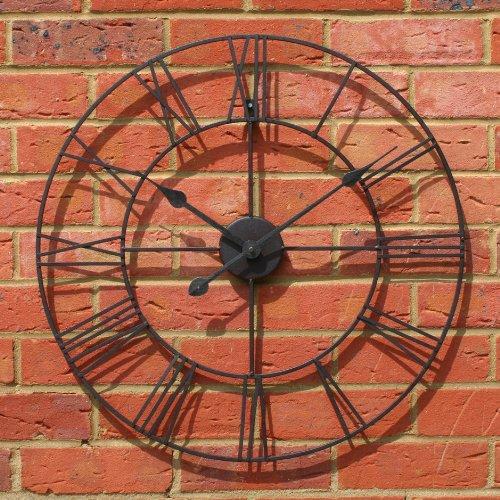 Carousel Home Horloge murale en métal Style campagne Noir Ø 60 cm