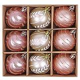 Victor's Workshop 9 Pezzi 60mm Rosa e Oro Palline di Natale Pallina infrangibile Ornamenti Decorativi di plastica Set Pendenti di Decorazione Albero di Natale