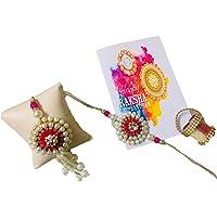 Urbalaa Multicolor Rakhi Gifts for Bhabhi and Bhaiya with Rakshabandhan Special Card and Roli Chawal Best Wishes Greeting Card