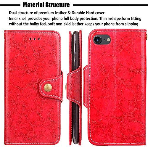 "MOONCASE iPhone 7 Coque, [Retro Folio Design] Support Flip Cuir Housse Doux TPU Protection Portefeuille Etui Cases pour iPhone 7 4.7"" Red Marron"