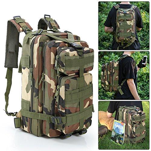 Often Rucksack Herren Multifunctional Taktischer Military Molle Backpack für Camping Wandern Reisen Klettern Outdoor - Tarnung Grün (Reebok Rucksack Kinder)