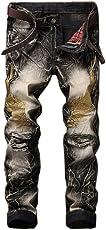 Fashion Embroidery Wings Jeans Men Hiphop Streetwear Denim Pants Zipper Beggar Pants - Size 32 (Vintage Color)