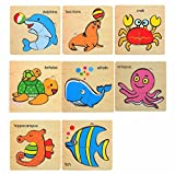 Mamimami Home Baby 3D Cartoon Puzzle Puzzle Holzspielzeug Karikatur Meeresorganismen Puzzles Kindererziehung Spielzeug für Kinder Montessori Spielzeug Puzzle