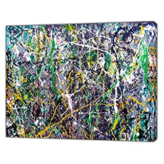 Jackson Pollock Style Green/Grey Abstract Oil Paint Reprint On Framed Canvas 34'' x 24''inch -18mm Depth