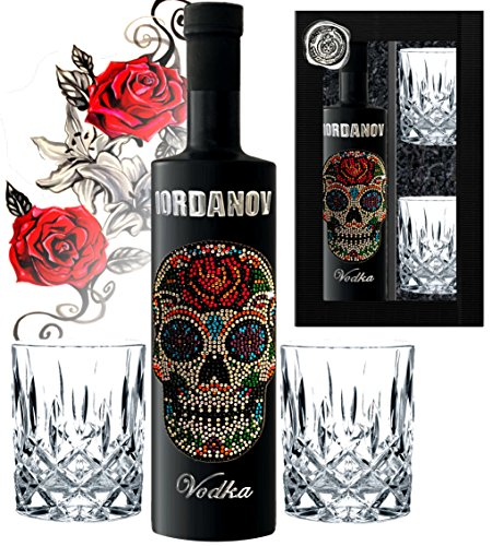 Geschenkset Flower Skull Vodka inkl. 2 Tumbler-Gläsern Black Bottle Sonderedition Luxus-Wodka Iordanov mit Crystal Kristallen & Geschenkbox Chrome