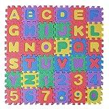 Freebily 36Pcs Kids Baby Colorful Foam Play & Exercise Mats Alphabet Number Soft Foam Floor Puzzle Mat, 6 x 6cm