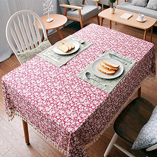 Impression Nappe en coton rouge applicable aux familles, cafés, restaurants Multi-usages Multi-taille , 90*90