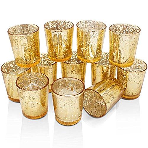LOGUIDE Gold Quecksilber Glas Votiv Kerzenhalter - aus Quecksilber Glas mit einem gesprenkelten Gold...