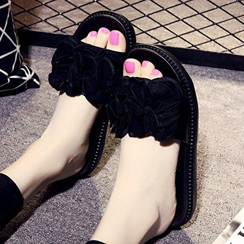 LGK&FA I Fiori Femminili Sono Estate Pantofole Di Slittamento Trascinare Un Piatto Con Suole Spesse Sandali E Pantofole A Casa Con Fiori 36 Nero 38 black