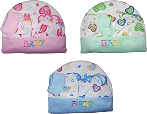 Mahi Fashion Baby Cotton Mittens and Booties Caps, 0-6 Months (Multicolour) - Combo of 3